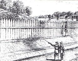 The palisade along what is now Wall Street (from The Memorial History of the City of New York).